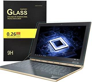 KuGi Protector and Keyboard Screen Protector for Lenovo Yoga Book, 1 Pack 9H Hardness Tempered Glass Screen Protector and 3 Pack HD Clear Keyboard Protector for Lenovo Yoga Book Tablet (Clear)