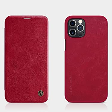 """Nillkin Case for Apple iPhone 12 Pro Max (6.7"""" Inch) Qin Genuine Classic Leather Flip Folio + Card Slot Red Color"""