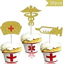 Nursing Cupcake Toppers - Nurse Graduation Cupcake Toppers - Medical Rn Themed Cake Picks - Nursing Cupcake Decorations - Gold Glitter, 36pcs