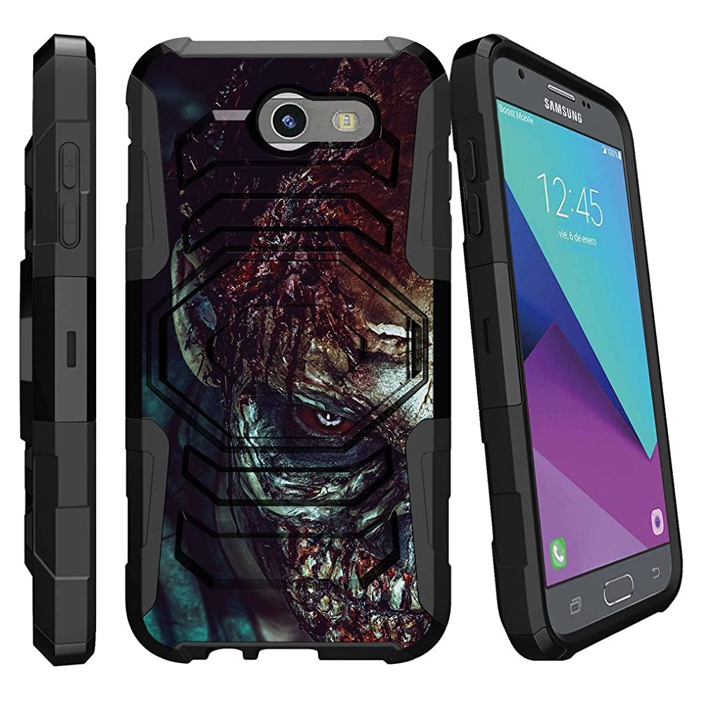 MINITURTLE Case Compatible w/ [Samsung Galaxy J3 Emerge | J3 Prime | J3 Eclipse | Luna Pro 2017] Holster [Armor Reloaded] Heavy Duty Impact Holster + Stand Close up Zombie
