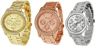 NYKKOLA Unisex Metal Watches, 3PCs Silver Gold and Rose Gold Plated Classic Round Geneva Ladies Watch