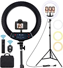 18 inch LED Ring Light with Tripod Stand Dimmable Makeup Selfie Ring Light for Studio Portrait YouTube Vlog Video Shooting with Carrying Bag and Remote Controller
