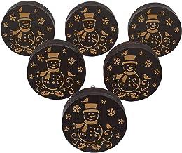 IBA Indianbeautifulart Bruine gegraveerde knoppen houten kast deurknoppen trek handvat Pack van 10