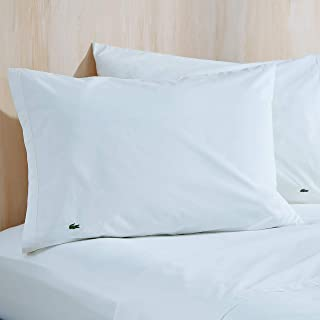 Lacoste 100% Cotton Percale Pillowcase Pair, Solid, White, Standard