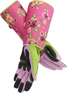 Rose Pruning Gardening Gloves, EnPoint Women Long Garden Work Gloves, 10.5cm/4.13in Palm Width Puncture Resistant Thorn Proof Glove with Long Cuff Forearm Protection for Flower Planting Yard Work