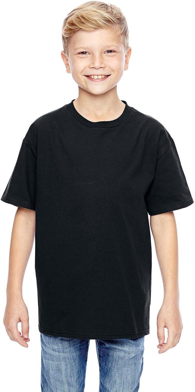 Hanes Youth 45 oz, 100% Ringspun Cotton nano-T T-Shirt - BLACK - XS - (Style # 498Y - Original Label)