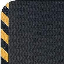 Hog Heaven Industrial-Grade Anti-Fatigue Mat   OSHA Yellow Striped Border   Welding Safe, Slip Resistant, Grease/Oil Proof, Ergonomic 5/8-inch Mat (Black, 4' x 6')