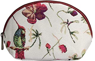 Signare Red & White Floral Tapestry Makeup Bag Travel Cosmetic Bag Brush Bag for Women Girls with Hummingbird and Flower (...
