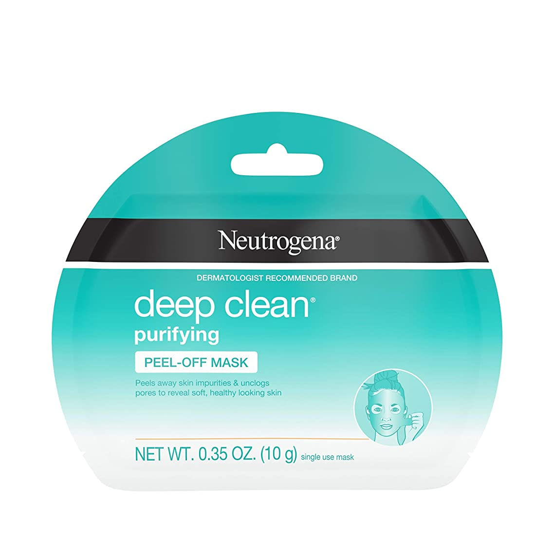 Neutrogena Deep Clean Purifying Peel-Off Face Mask, Oil-Free & Non-Comedogenic Deep Pore Cleansing Single-Use Facial Mask, Single-Use, 1 ct