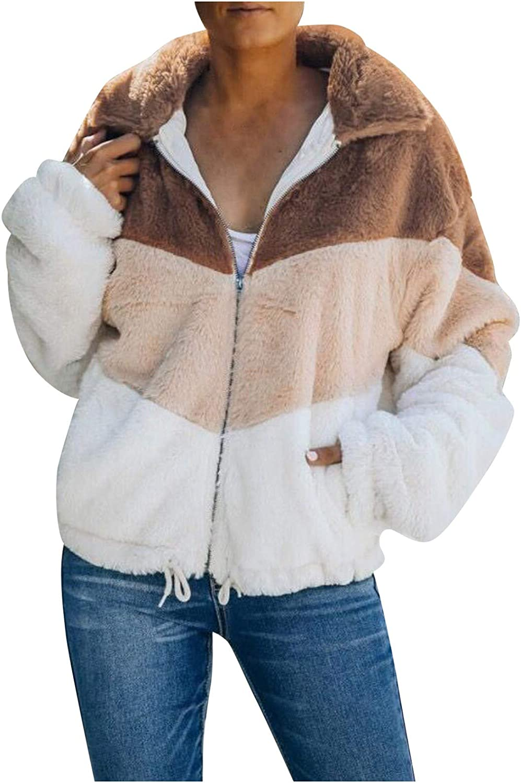 Women's Casual Sherpa Fleece Coats Lightweight Color Block Warm Zipper Jacket Loose Long Sleeve Outwear with Pockets