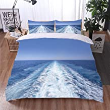 VROSELV-HOME Cotton Bedding Sets,Wake of a Large Ship,Soft,Breathable,Hypoallergenic,Print Queen 1 Duvet Cover 2 Pillowcases Wrinkle Fade Resistant