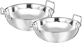 Amazon Brand - Solimo Stainless Steel Induction Bottom Kadhai Set (2 pieces, Size 13 and 14, 3.25 litres and 4 litres)