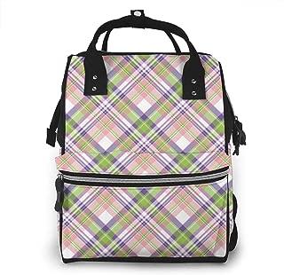 Beauty Plaid Multi-Function Travel Backpack Nappy Bag,Fashion Mummy Bag