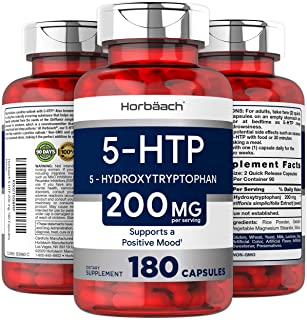 Horbaach 5HTP 100mg 6-Month Supply | 180 Capsules | Non-GMO, Gluten Free | 5 HTP | 5 Hydroxytryptophan Extra Strength Supp...