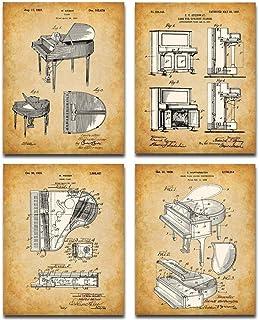Original Piano Patent Art Prints - Set of Four Photos (8x10)