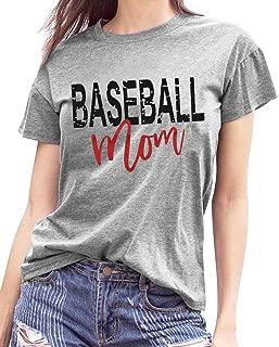 Women T-Shirts Baseball Mom Letter Print O-Neck Short Sleeve Tops