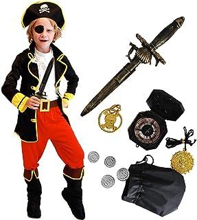 comprar comparacion Tacobear Disfraz Pirata Niño con Pirata Accesorios Pirata Sombrero Parche Daga brújula Monedero Pendiente Pirata Disfraz d...