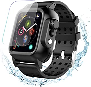 Waterproof Apple Watch Case Series 4 40mm Band, Temdan Built-in Screen Protector Full Body Protective Rugged case with Soft Silicone Apple Watch Band for Apple Watch Series 4 40mm 2018 (Black)