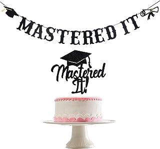 2021 Graduation Party Decorations- Black Glitter Mastered It Banner and Black Glitter Mastered It Cake Topper, College Gra...