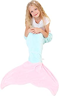 Mermaid Tail Blanket - Soft and Warm Polar Fleece Fabric Blanket by Cuddly Blankets for Kids and Teens (Ages 3-12) (Aqua and Light Pink)
