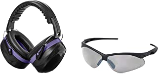 AmazonBasics Safety Ear Muffs Ear Protection, Black and Purple, and Safety Glasses, Smoke Lens