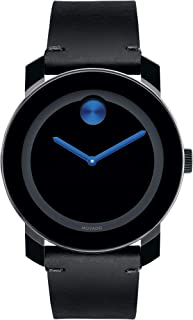 Men's BOLD TR90 Watch with Sunray Dot and Leather Strap, Black/Blue (Model 3600307)
