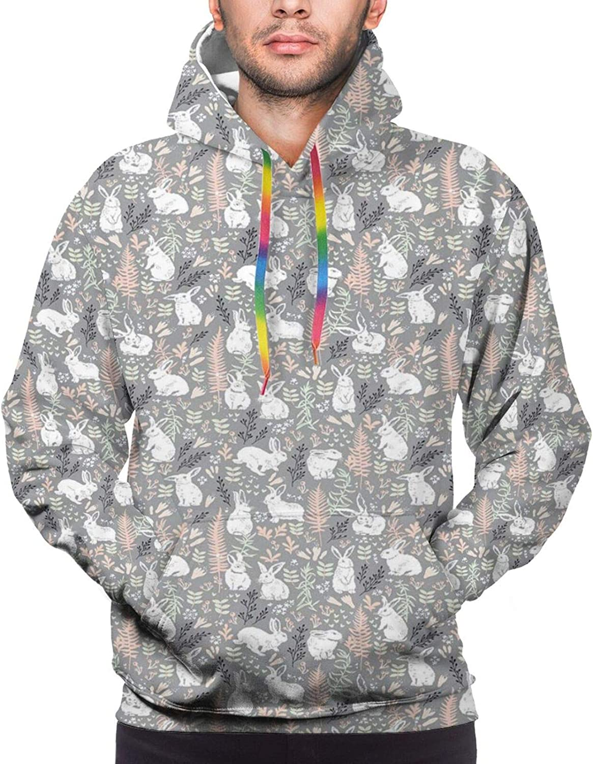 Men's Hoodies Sweatshirts,Nature Inspired Image with Polka Dots and Hearts Flowers Soft Pattern