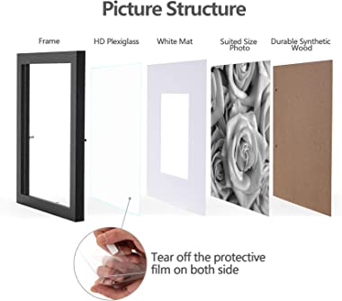 eletecpro 12x12 Picture Frames Black Set of 9, Wooden Square Photo Frame Displays 8x8 With Mat and 12x12 Without Mat, Poster