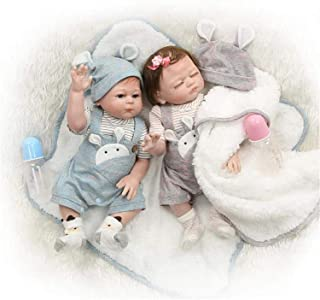2pcs 20 inch / 50Cm reborn dolls - boy and girl twins born-again doll full body soft silicone newborn baby lifelike reborn...