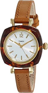 TIMEX NEW Helena 30mm Silver White dial resin tortoiseshell pattern brown leather strap TW2P70000 Ladies