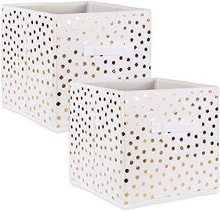 DII Lot de 2 corbeilles de rangement pliables en tissu non tissé Motif à pois Blanc et doré 28 x 28 x 28 cm