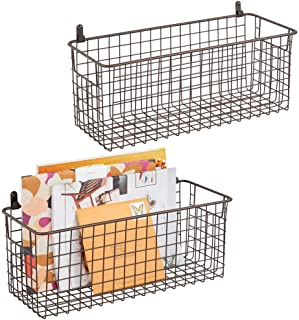 mDesign étagère murale métallique (lot de 2) – panier de rangement moyen pour couloir, chambre, etc. – organiseur de lettr...