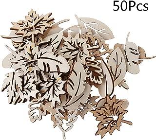 Misright 50pcs Laser Cut Wood Embellishment Wooden Leaves Shape Craft Wedding Decor