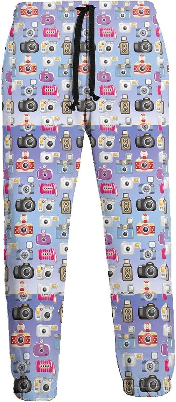 KAWAHATA Camera Pattern Men's Pants with Pockets Tapered Athletic Sweatpants 3D Casual Active Sports Pants