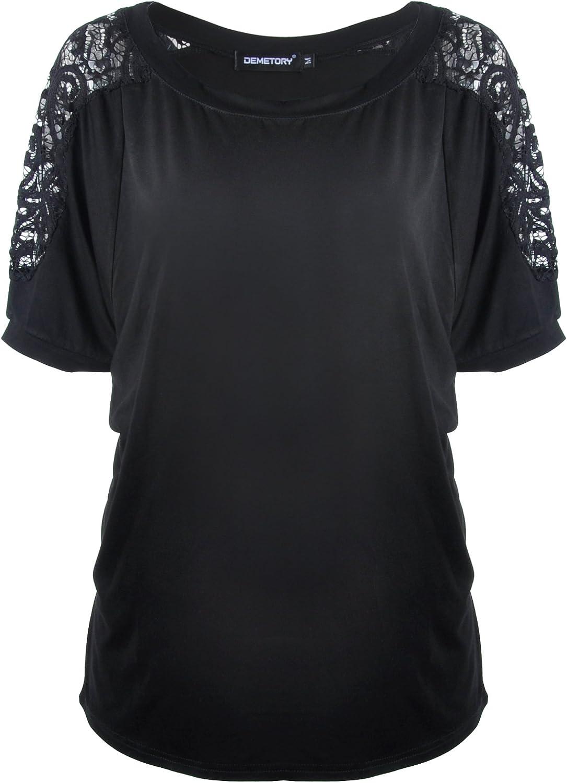 Demetory Womens Summer Short Sleeve TShirts Scoop Neck Lace Basic Tee Tops
