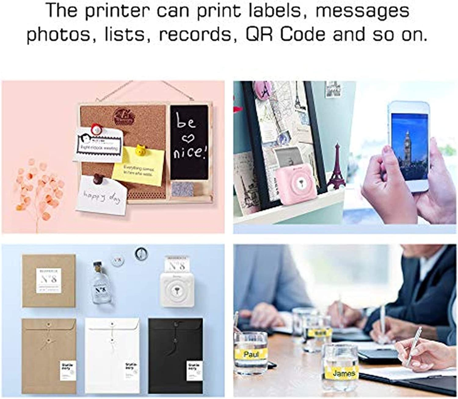 Portable Wireless Printers for Travel Mini Bluetooth Thermal Printer Label Picture Memo Receipt Photo Printer for Cell Phone iOS /& Android Smartphone with 6 Thermal Paper Rolls 203DPI, Blue