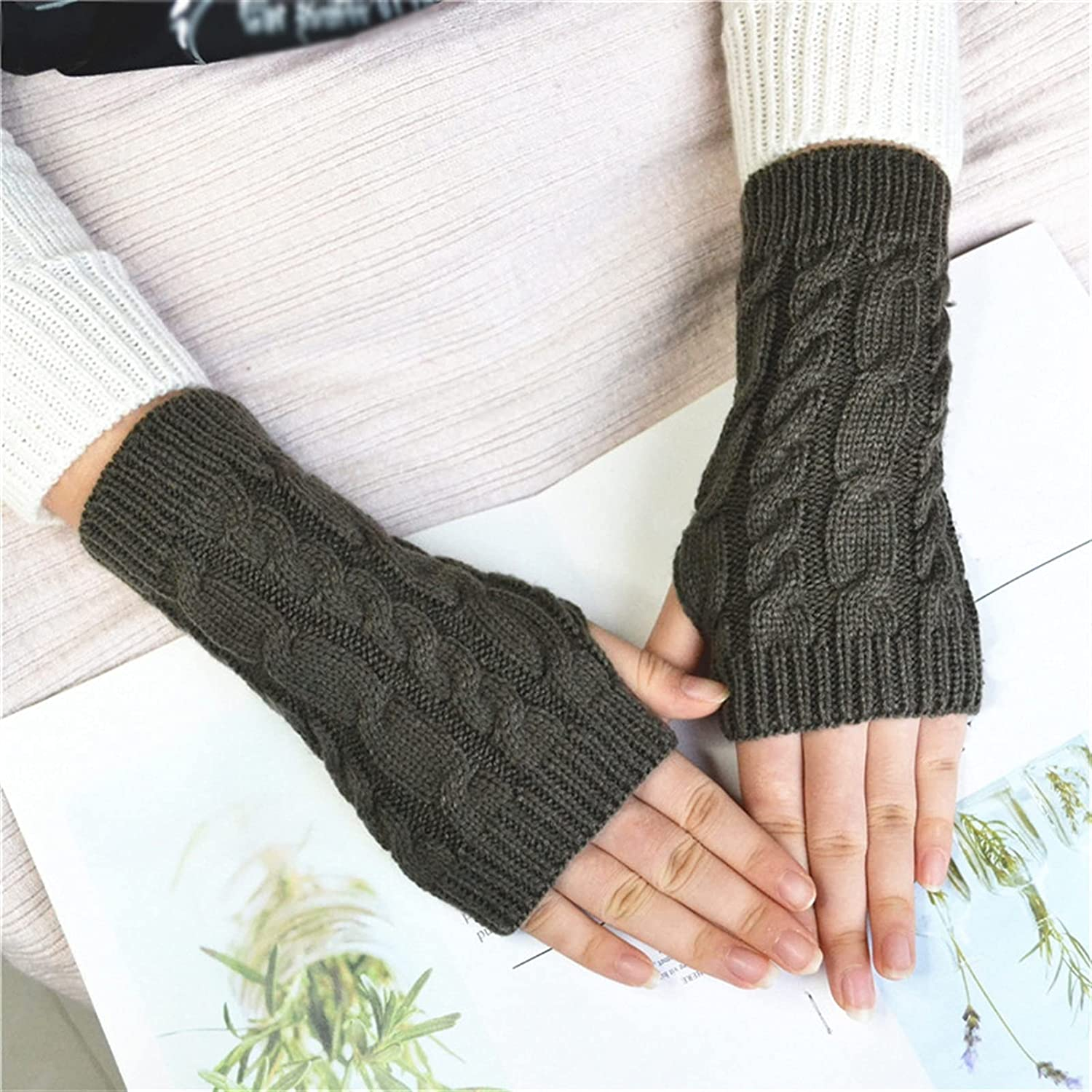 LUBINGT Winter Gloves Women Gloves Faux Fur Hand Warmer Winter Gloves Women Arm Crochet Faux Wool Mittens Knitted Warm Fingerless Gloves (Color : Turquoise, Gloves Size : One Size)