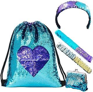 LURICO Mermaid Paillettes Zaino Borsa Paillettes Reversibili con Lacci Glittering Outdoor Tracolla Glitter Coulisse Zaino ...