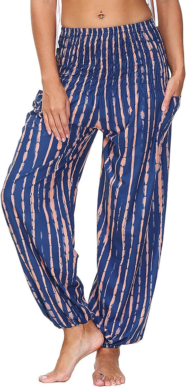 MIVAMIYA Womens Comfy High Waist Harem Pants Wide Leg Lounge Pants Summer Floral Print Boho Pants with Pockets