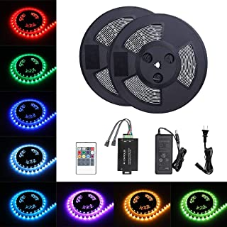 Tingkam 65.6 ft 20 M Waterproof 5050 SMD RGB LED Flexible Strip Light Black PCB Board Color Changing Decoration Lighting 150 LEDs Kit + 20 Key Remote Controller+ 6 A US Power Adapter (Renewed)