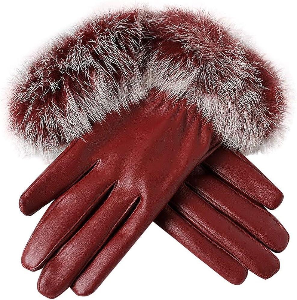 2019 New Women's Winter Warm Leather Gloves Rabbit Fur Mittens by Chaofanjiancai