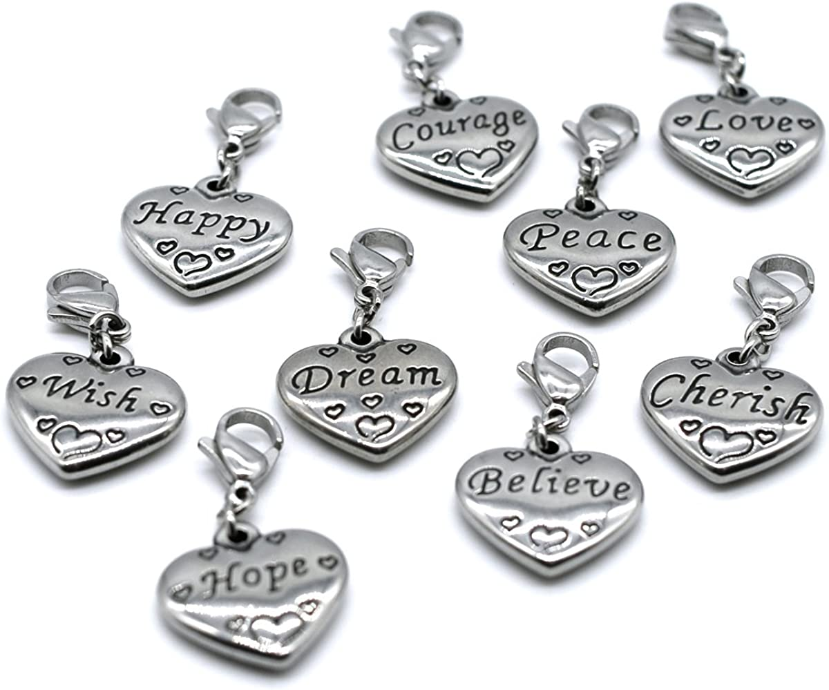 Direct sale of manufacturer MT 2007 Stainless Steel Heart Inspiratio 9PCS Set Clasp Charms 67% OFF of fixed price