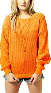 Womens Ladies Oversized Baggy Long Thick Knitted Plain Chunky Top Knit Jumper S-XL (S/M, Neon Orange)