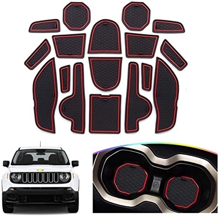 Red Door Slot Mat for 2015-2020 Renegade BU Non-Slip Interior Door Groove Gate Pad Fit Jeep Door Compartment Cup Center Console Liners Car Accessory Decoration