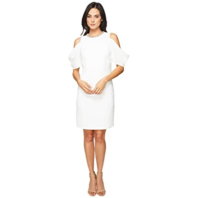 Laundry by Shelli Segal Embellished Neck Crepe Dress (Marshmallow) Women