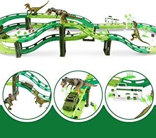 Dinosaur Track Toy Set Train Track Race Car for Kids & Toddlers Dinosaur Train Track with 3 Dinosaurs,1 Military Vehicles, 13 Transportation Facilities Awesome Overpass and Dinosaur World Toys