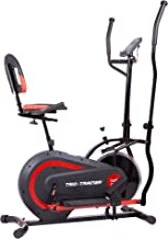 Body Power Trio Trainer Machine 3 in 1 Elliptical Trainer Upright Bike and Recumbent Bike with Weighted Chrome Wheel BRT5118