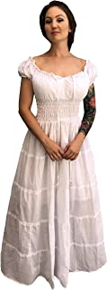 Ships Out Same Day - Cotton Renaissance Dress Medieval Costume Pirate Peasant Wench Boho Sun Chemise White