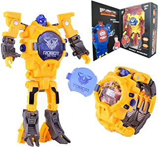 Robots Watch Toys for Kids,Digital Watch 2 in 1Deformation Robot Toys for Boys and Girls,Robot Watch for School GIF (Yellow)