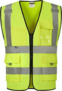 Justry Safety Pockets Class 2 High Visibility Zipper Front Safety Vest With Reflective Strips, Yellow Meets ANSI/ISEA Standards,M/L